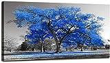 Estirar en el marco Pintura de arte moderno árbol azul estilo blanco y negro paisaje otoñal imagen arte moderno HD lienzo imagen obra de arte 75x150cm Marco interior