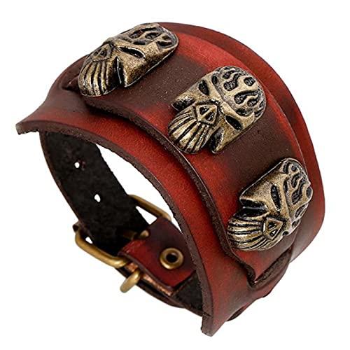 YITIANTIAN Vintage Charm Pulseras Pulseras Hebilla de cinturón Máscara Ancho Brazalete Ajustable de Cuero Genuino Gótico Retro Hombres Joyería