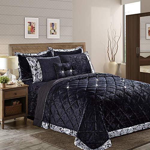 Aspire Homeware Tagesdecke Samt Bettüberwurf 3 Stück Steppdecke Schlafzimmer Deko Hochwertiger Bettwäsche Set + 2 Kissenbezüge (Santiago Schwarz, Super King (275 x 250 cm))