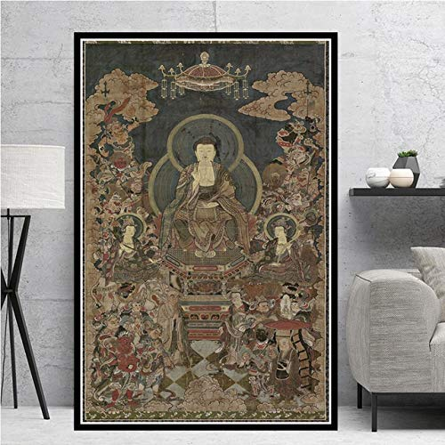Z.L.F.J.P Tibetisch Sakyamuni und Arhat Thangka Tibet Buddhismus Buddha Poster Wandkunst Bild Poster und Drucke Leinwand Malerei Dekor Obrazy Plakat (Color : 3, Size (Inch) : 20x25cm)