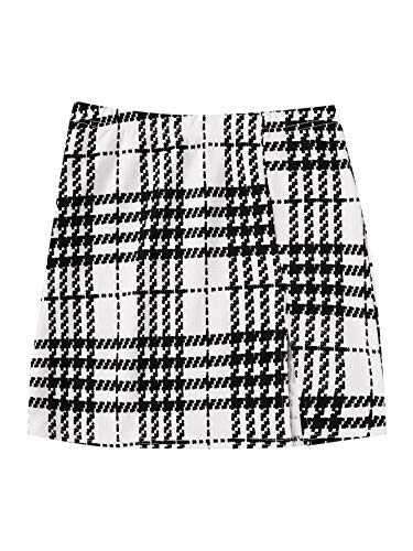 SheIn Women's Basic Stretch Plaid Mini Bodycon Pencil Skirt Medium White