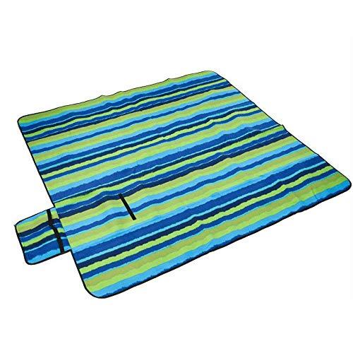 FEE-ZC vochtbestendige waterdichte picknick deken, baby kruipen waterdichte rug outdoor strand picknick tapijt mat met handvat (200 X 200 Cm), blauw