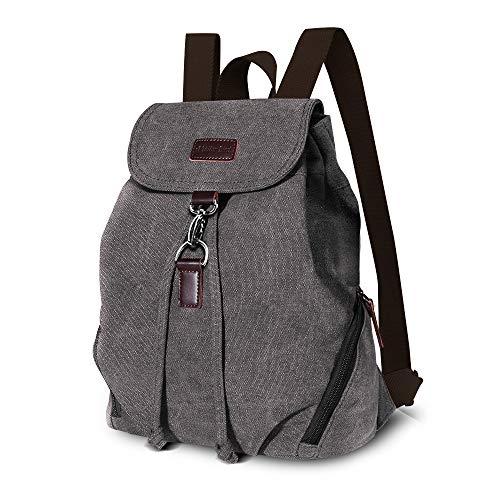 AtailorBird Canvas Rucksack Vintage Schulrucksack Leinwand Drawstring Rucksack Damen Casual Backpack Reise Daypack für Schule, Lässige und Outdoor Camping - Grau