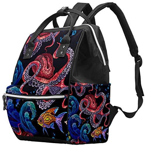 Rode Octopus Blauwe Golven Luiertas Rugzak, Baby luier Reistassen Multifunctionele Mama Rugzak, Stijlvol Ontwerp