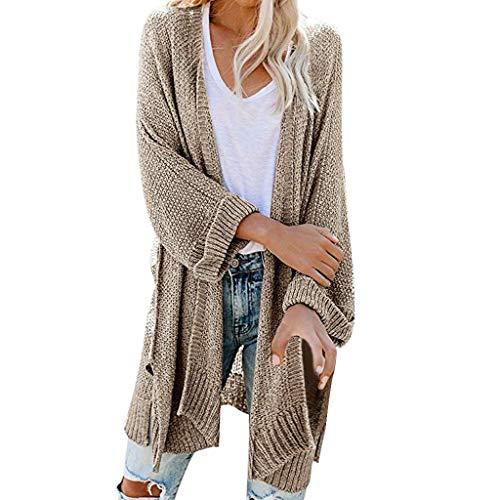 TAMALLU Sweater Sweatshirt Damen Mode Lässig Fest Party Langarm Einfache Pullover(Khaki,M)
