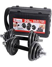 PowerMax Fitness PDS-20KG Dumbbell Set with Non-Slip Grip for Home Use, black, black