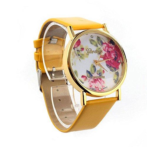 CursOnline Geneva - Elegante reloj de mujer Platinum con diseño de flor, estilo retro, de acero dorado, original clásico e informal, cómoda pulsera de piel sintética CoL354-14 Correa