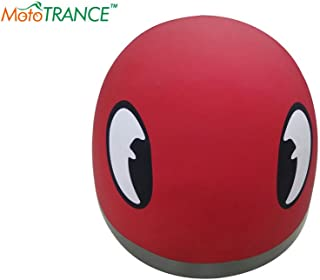 Mototrance Elegant Helmet with Eyes Graphics (Matt Red)