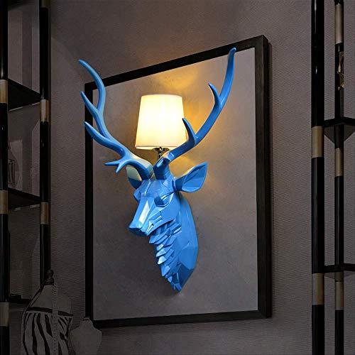 Lampara Pared Lamparas Apliques Lucesluces De Paredantler Wall Lights Deer Head Wall Lights Living Room Bedhead 55 * 37Cm 6025 Blue Trumpet Wall Light
