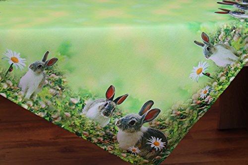 Kamaca Serie NEUGIERIGE HÄSCHEN hochwertiges Druck-Motiv mit süssen Hasen EIN Eyecatcher Frühling Ostern (Mitteldecke 85x85 cm)