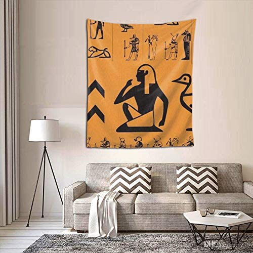 HARTG Ancient Egypt Clipart Orange 60×51 Inch Tapestry Wall Hanging, Wall Art Decoration for Living Room Bedroom Home Decor