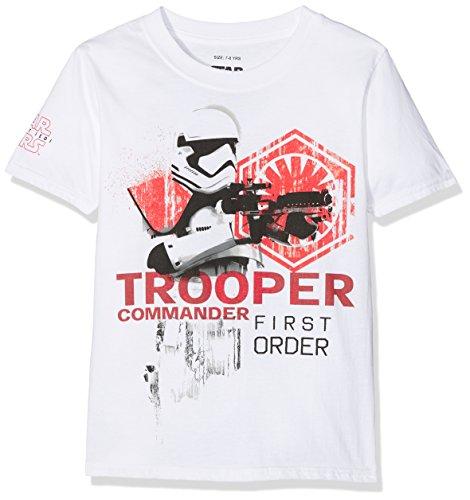 Star Wars Trooped Commander Camiseta, Blanco (White Wht), 9-10 años para Niños