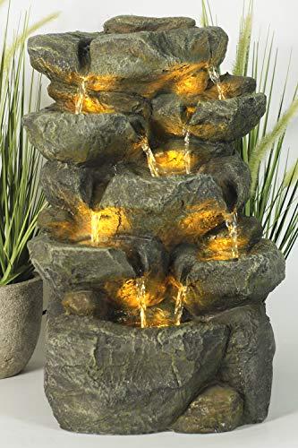 Arnusa Springbrunnen Victoria mit LED Beleuchtung Zimmerbrunnen IN und Outdoor Gartenbrunnen Wasserspiel