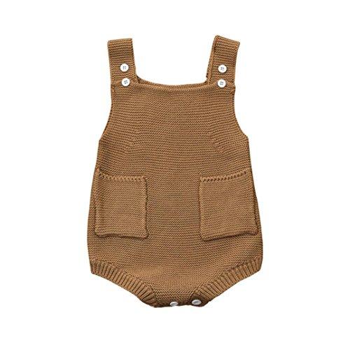 Igemy Overall Kleider Romper Outfit Neugeboren Baby Mädchen Solid gestrickte Kleinkind Tasche (60, Beige)