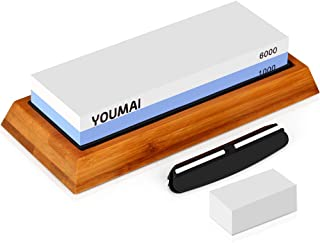 YOUMAI Knife Sharpening Stone 2 Side 1000/6000 Grit Whetstone Kit with Non-Slip Bamboo Base, Angle Guide and Flattening, Professional Kitchen Sharpener Blade Waterstone Keep Your Knives in Prime Shape