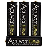 4 Acuvar High Capacity AA Rechargeable Batteries 3100mAh NiMH