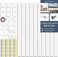 DazSpirit Kabelgoot wit 4 meter kabelgoot zelfklevend wit (10 stuks - 400x24x14 mm), lakbare kabelschacht voor het verberg...