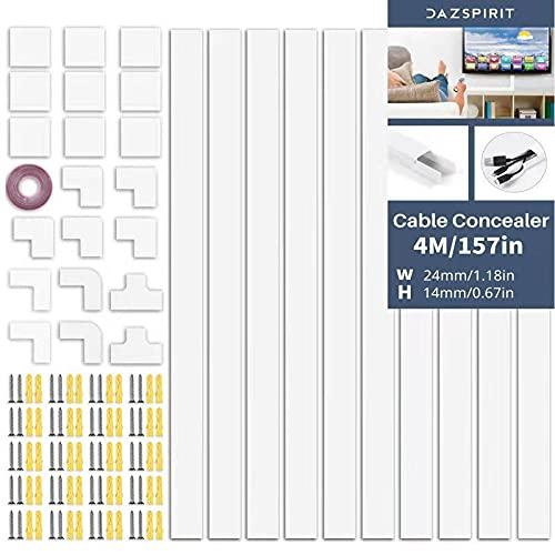 Canaletas Para Cables 10 Piezas Cubre Cables Pared,4-Metros Blanco Canaleta Cables TV,Canal De Cables Para Ocultar La De Todos Los Cables En El Hogar/Oficina,Solución Para Organizar,Proteger Cables