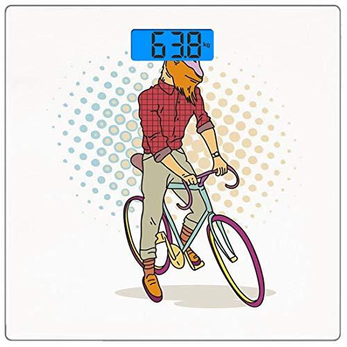 Escala digital de peso corporal de precisión Square Retro Báscula de baño de vidrio templado ultra delgado Mediciones de peso precisas,Cabra Hipster en Bicicleta Modelo de Moda Cuernos Pezuñas Adolesc