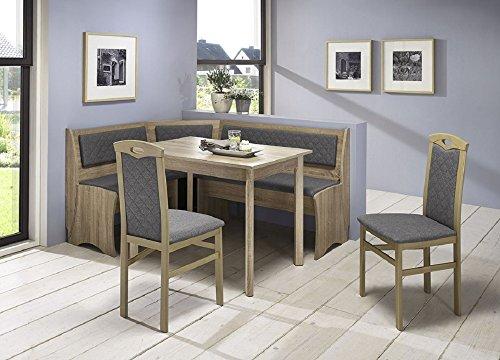 Beauty.Scouts Eckbankgruppe Senta Sonoma Eiche Sägerau Dekor Silbergrau Set 4teilig Truheneckbank Tisch Stühle Buche massiv Küche Esszimmer