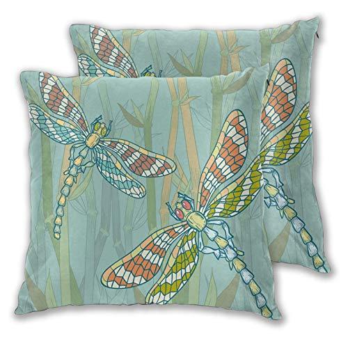 DECISAIYA Funda de Cojín Suave,Estilo Doodle Figuras de libélulas Gigantes en el Lago Arbustos Naturaleza Imagen exótica Arte,Funda de Almohada Cuadrado para Sofá Cama Decoración para Hogar