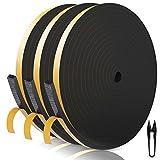 RATEL Striscia di Gomma 12mm(W)*6mm(H)*18m(L) con Forbici * 1, Finestrini Prova di collisione e Isolamento Acustico Strisce Adesive per Fessure e Fessure (Nero)