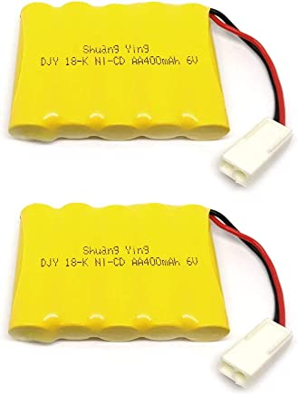 Gecoty 2pcs 6V 400mAh Ni-Cd Rechargeable AA Battery Pack EL 2P Plug for RC