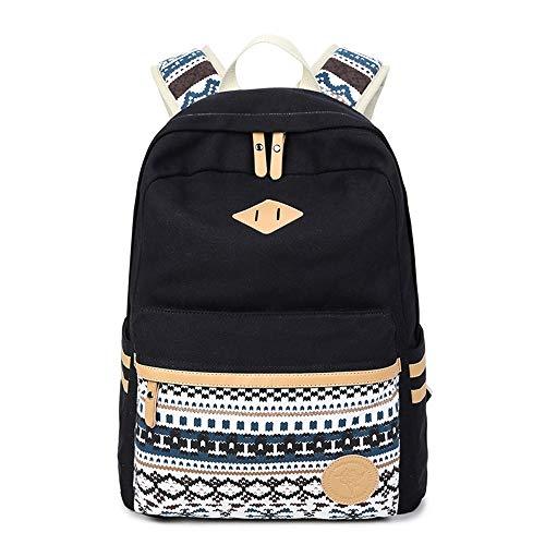 Rucksäcke für Mädchen, Marsoul Segeltuch Rucksack Mädchen Schulethnischer Stil Rucksack(Gypsy Schwarz)