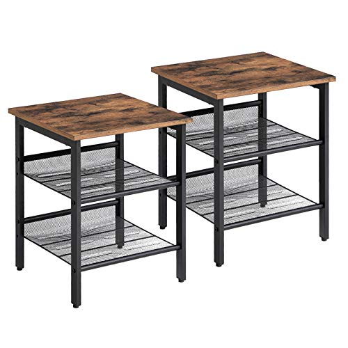 VASAGLE Side Table Set, Nightstand, Industrial Set of 2 Bedside Tables, with Adjustable Mesh Shelves, Living Room, Bedroom, Hallway, Office, Stable LET24X