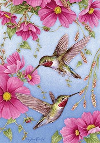 Toland Home Garden 107158 Hummingbirds w/Pink House Flag