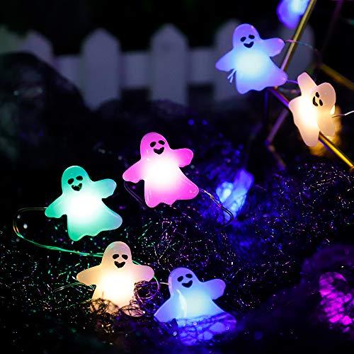 Halloween Ghost Light String, Ghost Light String mit wasserdichtem Batteriekasten und 13-Tasten-Fernbedienung, vierfarbige 3m30 Lichter Halloween Decoration Light String, für den Außen- / Innenbereich