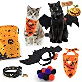 AWOOF Cat Halloween Costumes for Cats, Bat Wings for Cat with Cat Halloween Collar Bandanas, Cute Pet Dress Up Accessories for Cats
