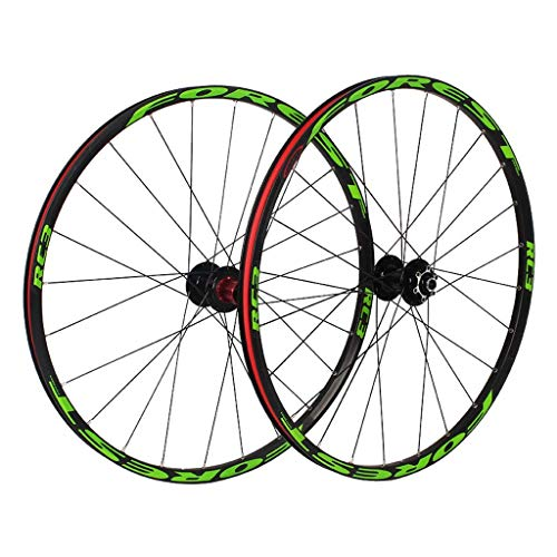 TYXTYX Juego de Ruedas MTB Bicicleta 26'27,5 Pulgadas, aleación de Aluminio, Doble Pared, 7/8/9 velocidades, Adecuado para neumáticos de 1,25 a 2,3 Pulgadas