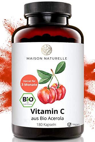 MAISON NATURELLE® Vitamin C Kapseln aus Bio Acerola (180 Stück) – hochdosiert mit 1000 mg Bio Acerola Extrakt aus Acerola Kirschen davon 170mg natürliches Vitamin C – vegan, vitamin c pulver