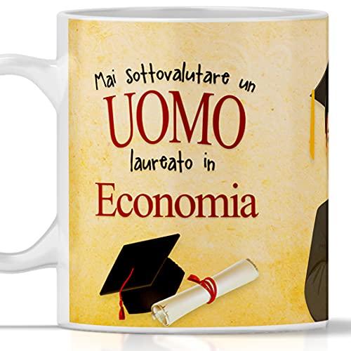 Tazza laurea ECONOMIA per UOMO. Gadget regalo per laurea maschile in Economia
