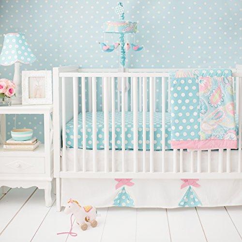 My Baby Sam Pixie Baby 3 Piece Crib Bedding Set, Aqua and Pink