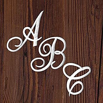 Monogram Letter Patch 26 Piece Kit White Script Iron On Appliques Kit Includes All 26 Cursive Letters for Clothing Stockings and More!
