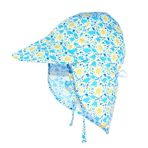 Gorro de natación ajustable con protección UV UPF 50+ para bebés y niños pequeños con solapa para el cuello, Sunlight, 2-4 Años