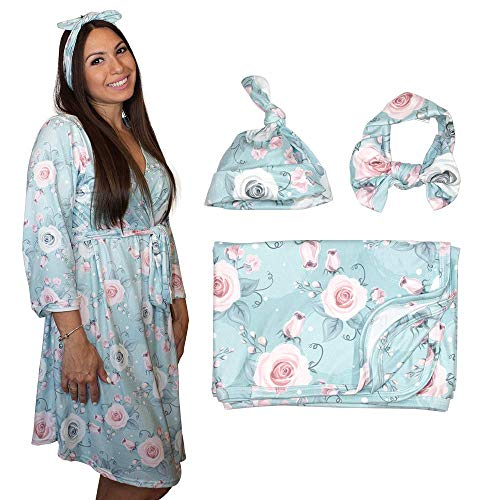 Mommy o' Clock Mommy Robe for Maternity and Baby Swaddle Blanket, Milk Silk Matching Delivery Robe and Swaddling Wrap for Mom and Baby (L/XL (12-24), Pink Aqua Rose)