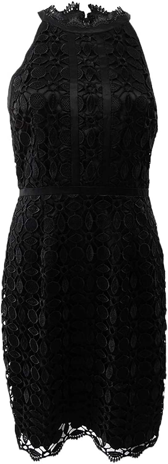 Adrianna Papell Womens Lace Halter Party Dress