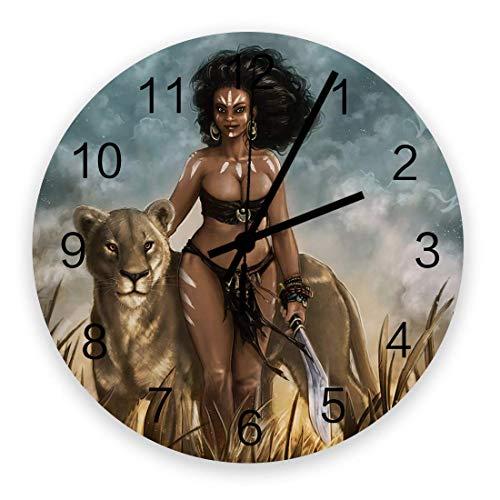 Reloj de Pared Redondo de Madera Mujeres africanas con León Silencioso Sin tictac, Reloj de Pared silencioso de Cuarzo con Pilas para el hogar, Oficina, Escuela de 10 Pulgadas