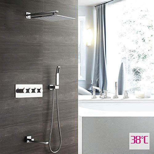 CLJ-LJ 30 cm cuadrado montado en la pared termostático ducha conjunto cobre grifo Booster Top Spray Home Silver 3 modo ducha sistema práctico