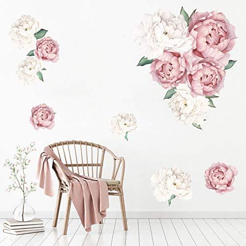 PMSMT Pegatinas de Pared de peonía Rosa para niños, decoración de Flores, Pegatinas de guardería, Arte de Sala de Estar, decoración de Interiores, calcomanías de Pared