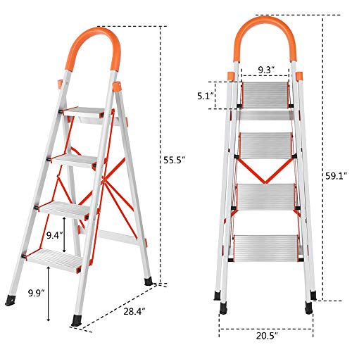 LUISLADDERS 4 Step Ladder Aluminum Lightweight Folding Step Stool Portable Home and Kitchen Anti-Slip Stepladder 330lbs EN131 (4 Step)