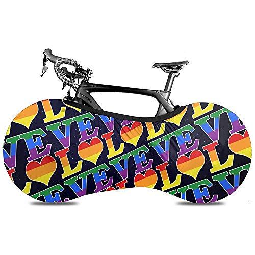 Cubierta para bicicleta Gay Love Rainbow Heart Orgullo gay y lésbico Cubierta para polvo para bicicleta Interior, protector elástico a prueba de golpes, mantiene los pisos y paredes libres de suciedad