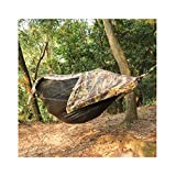 JXS-outdoor Camping-Hängematte mit Moskitonetz und Regenschutz Fallschirmstoff-Hängematte, Sonnenschirm-Garten-Hängematte für Camping im Freien,Camouflage
