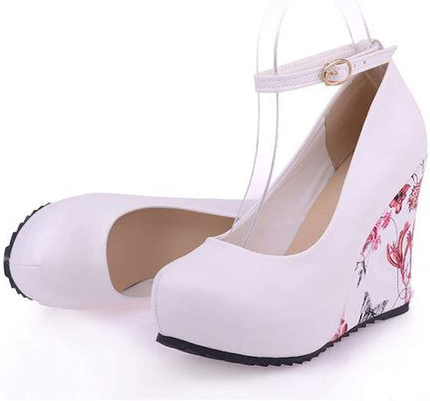 Mostand heeled-sandals high Heels Large Sizes Wedgess shoes Flower Print Platform Ankle-Strap