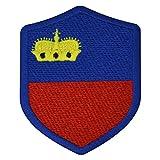 benobler FanShirts4u Aufnäher - Liechtenstein - Wappen - 7 x 5,6cm - Bestickt Flagge Patch Badge Fahne (Blaue Umrandung)