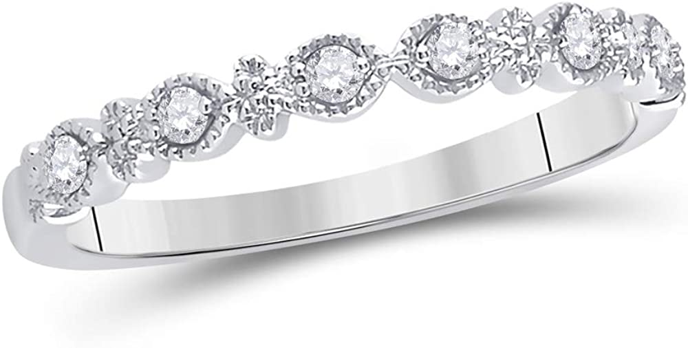 14kt Washington Mall White Gold Womens Round Diamond Stackable Rin Band Trust Milgrain