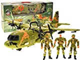 PowerTRC Military Combat Air Force Airplane Toy with Lights, Army Sounds and Realistic Working Doors Giant C130 Bomber with Mini Soldiers for Kids